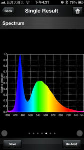 Spectrum Genius Spectrometer on Apple iPOD Touch